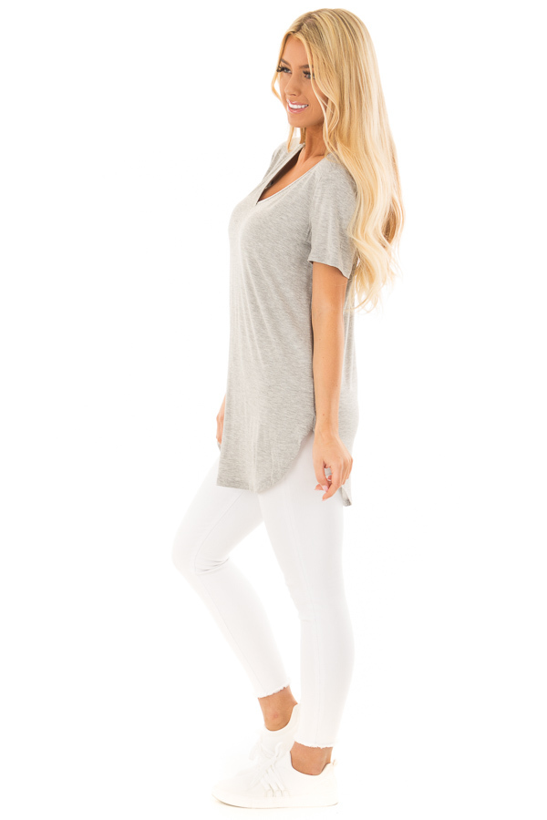 Heather Grey V Neck Short Sleeve Comfy Tee Shirt side full body