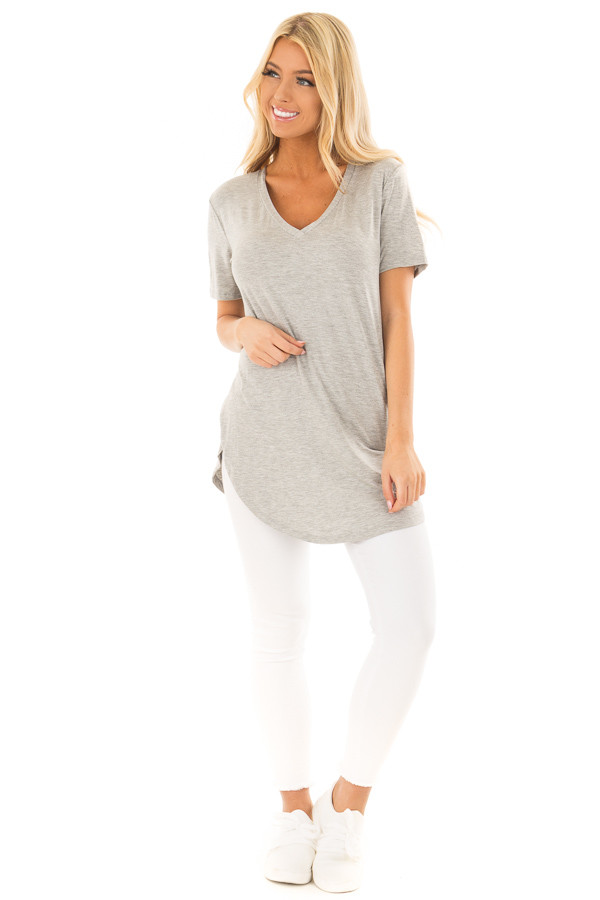 Heather Grey V Neck Short Sleeve Comfy Tee Shirt front full body