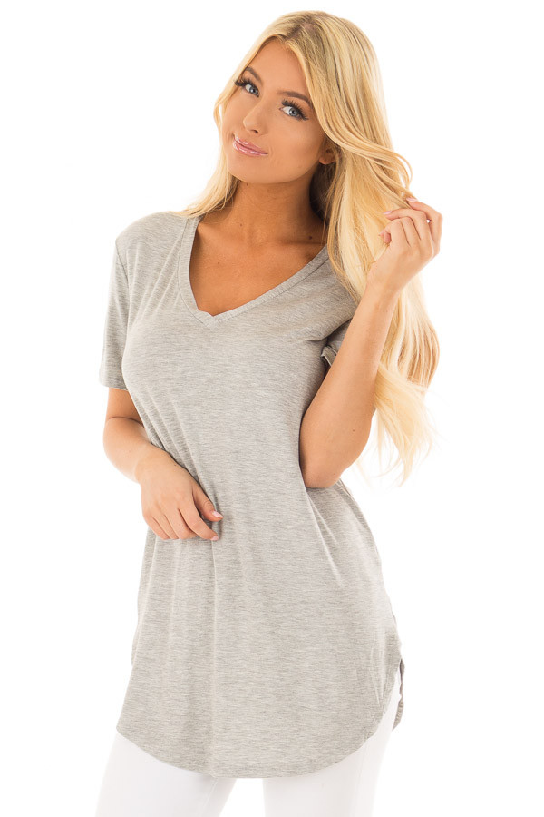 Heather Grey V Neck Short Sleeve Comfy Tee Shirt front closeup