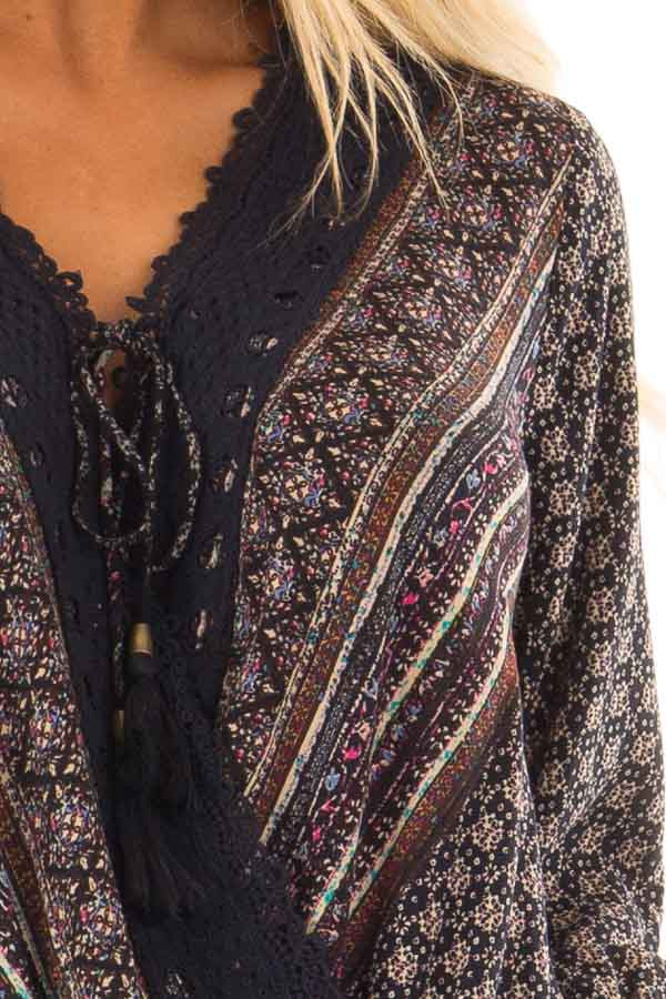 Navy Patterned Surplice Blouse with Lace Trim front detail