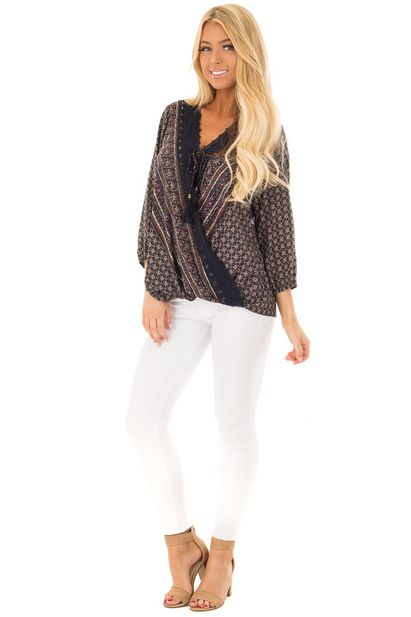 Navy Patterned Surplice Blouse with Lace Trim front full body
