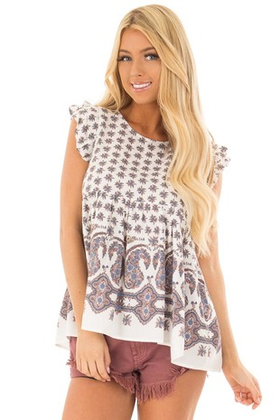 White Patterned Short Sleeve Babydoll Top front closeup