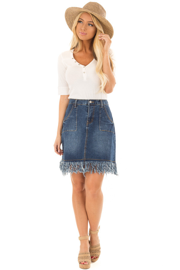 Dark Denim Frayed Pencil Skirt front full body