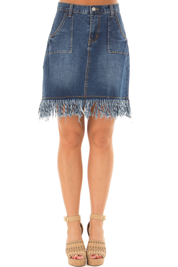 Dark Denim Frayed Pencil Skirt front