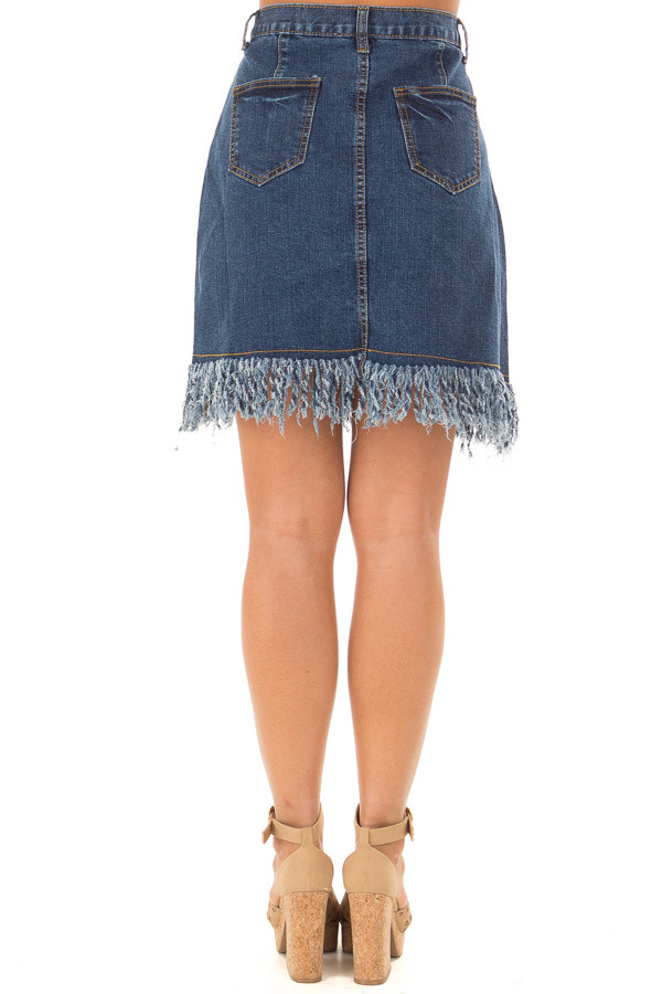 Dark Denim Frayed Pencil Skirt back