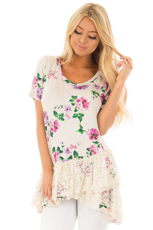 Ivory Floral Print Top with Lace Hem front close up