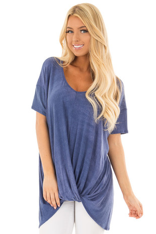 Indigo Mineral Wash Short Sleeve Top with Front Twist Detail front close up