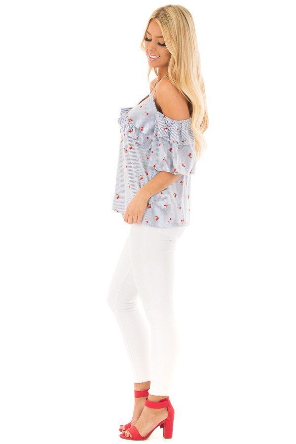 Slate Blue Striped Cold Shoulder Top with Cherry Print side full body