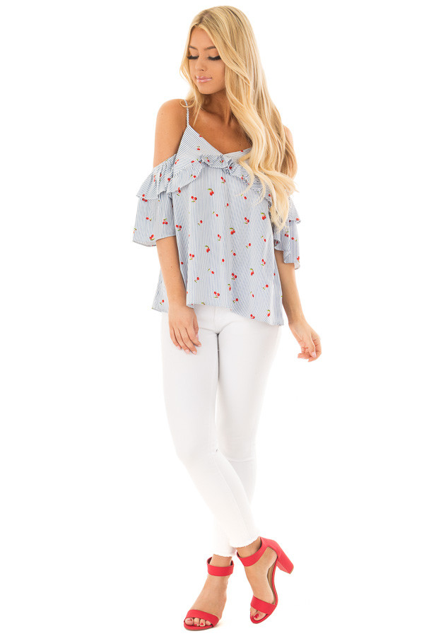 Slate Blue Striped Cold Shoulder Top with Cherry Print front full body