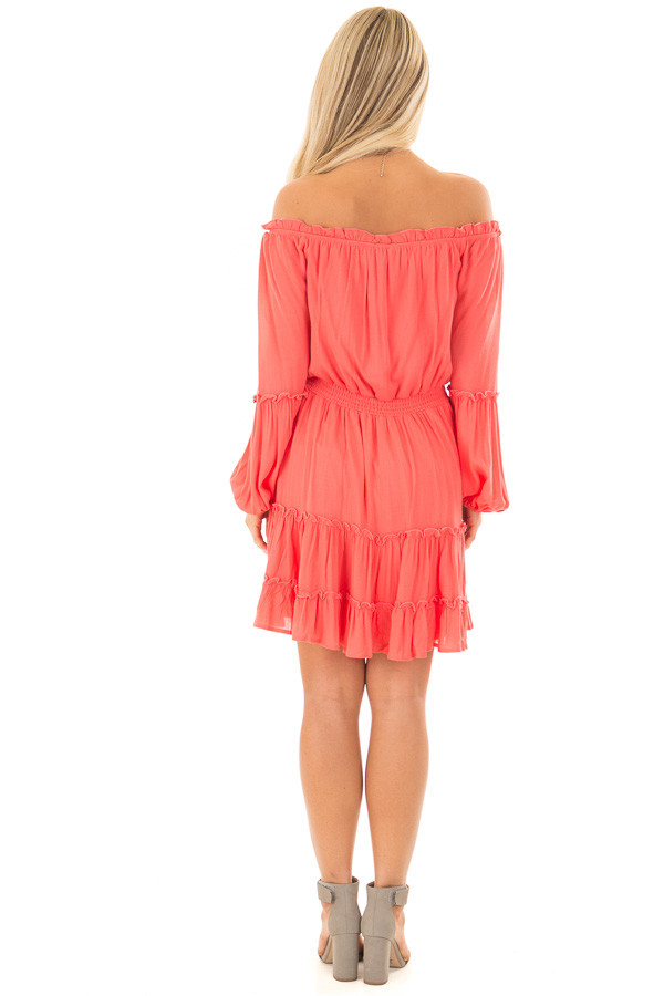 Coral Off the Shoulder Dress with Ruffle Detail back full body