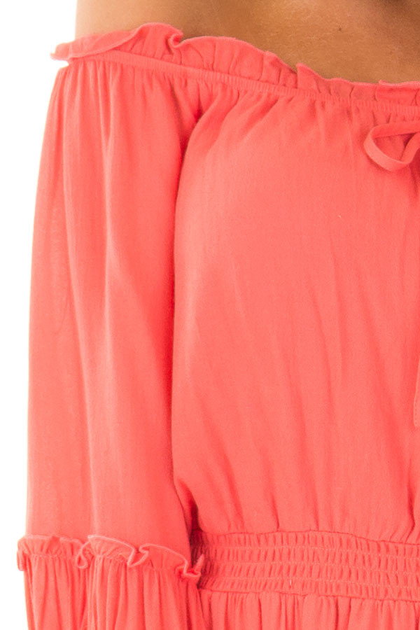 Coral Off the Shoulder Dress with Ruffle Detail detail