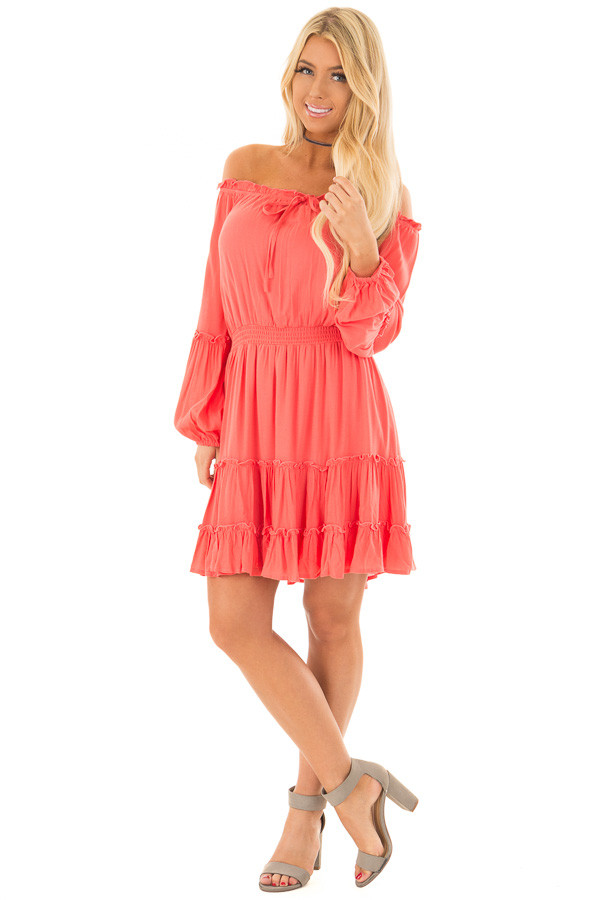 Coral Off the Shoulder Dress with Ruffle Detail front full body