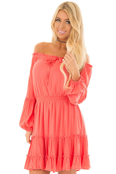 Coral Off the Shoulder Dress with Ruffle Detail front close up