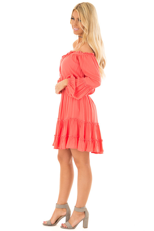 Coral Off the Shoulder Dress with Ruffle Detail side full body