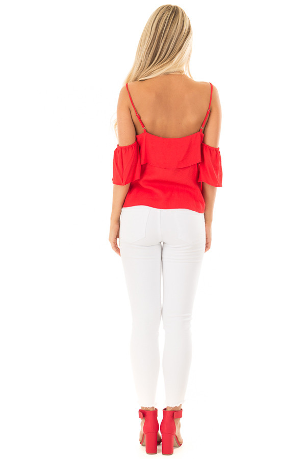 Cherry Red Cold Shoulder Woven Tiered Top back full body