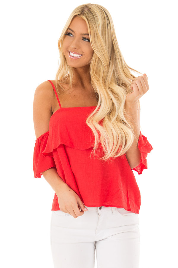 Cherry Red Cold Shoulder Woven Tiered Top front full body