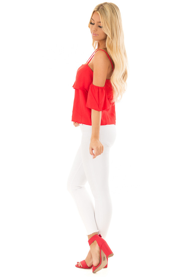 Cherry Red Cold Shoulder Woven Tiered Top side full body