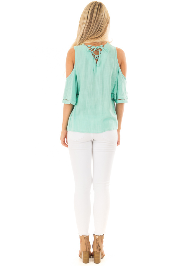 Mint Cold Shoulder Top with Lace Up Back back full body