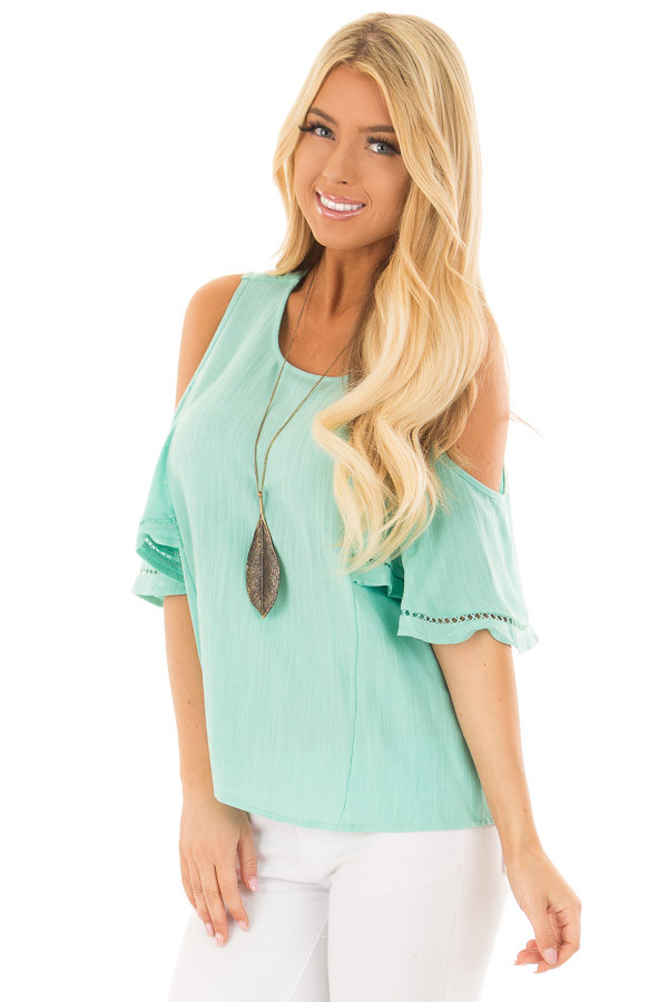 Mint Cold Shoulder Top with Lace Up Back front close up