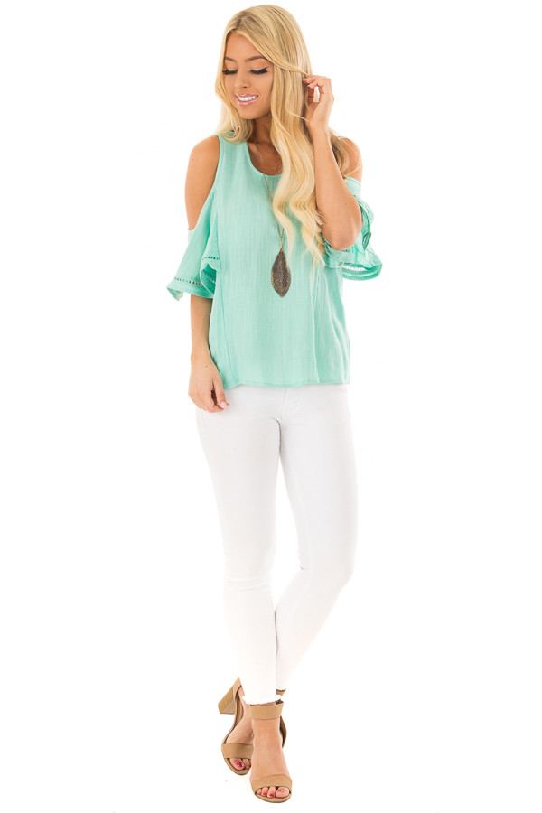 Mint Cold Shoulder Top with Lace Up Back front full body
