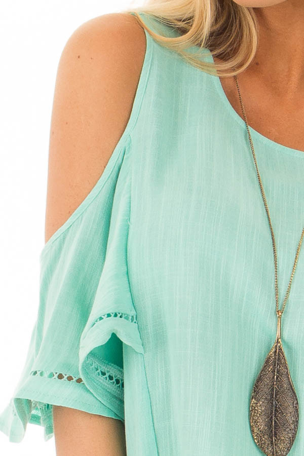 Mint Cold Shoulder Top with Lace Up Back detail