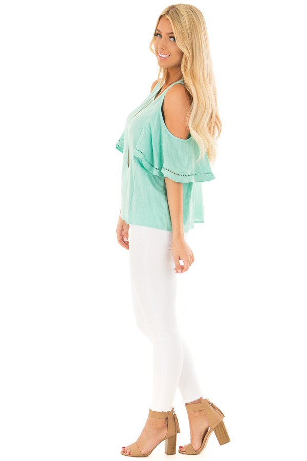 Mint Cold Shoulder Top with Lace Up Back side full body