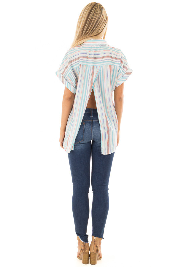 Multi Striped Hidden Button Up Top with Cuffed Sleeves back full body