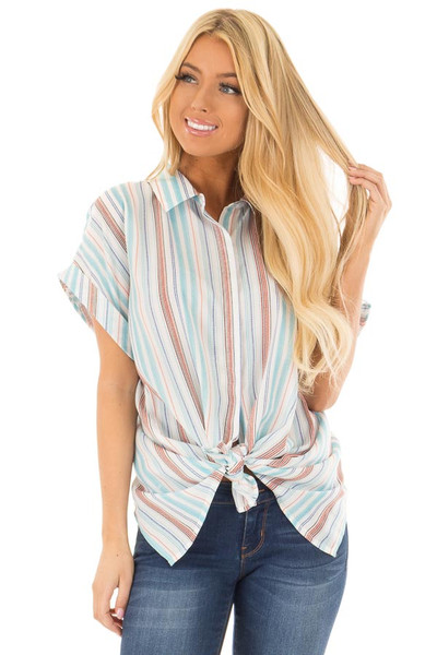 Multi Striped Hidden Button Up Top with Cuffed Sleeves front close up