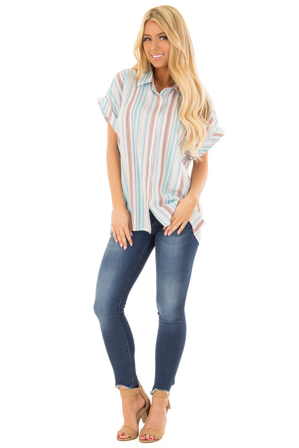 Multi Striped Hidden Button Up Top with Cuffed Sleeves front full body