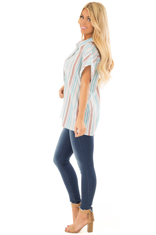 Multi Striped Hidden Button Up Top with Cuffed Sleeves side full body