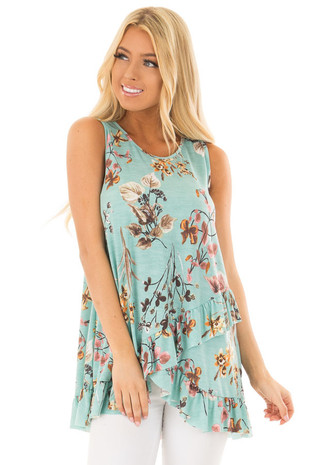 Mint Floral Print Tank Top with Layered Ruffle Detail front close up