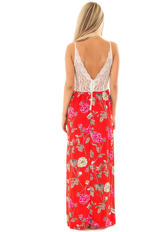 Crimson Red Floral Print Dress with Cream Lace Detail back full body