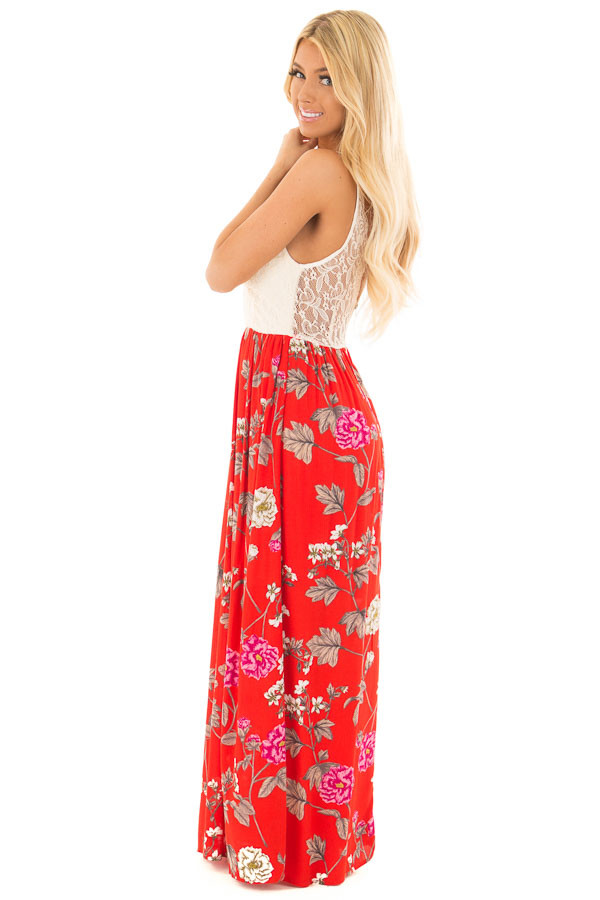 Crimson Red Floral Print Dress with Cream Lace Detail side full body