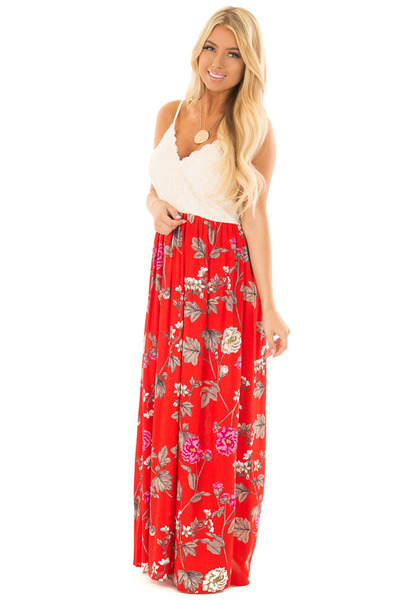 Crimson Red Floral Print Dress with Cream Lace Detail front full body