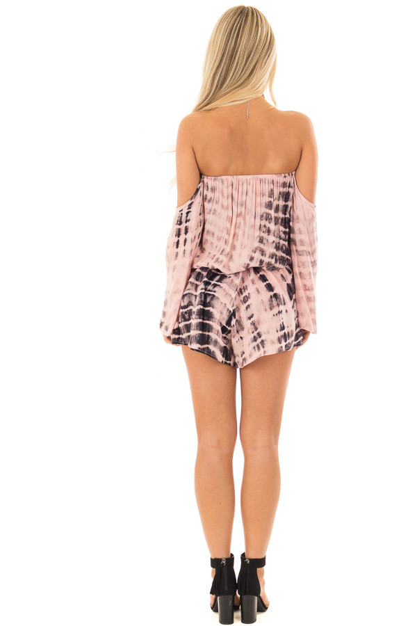Light Pink and Black Tie Dy Off the Shoulder Romper back full body