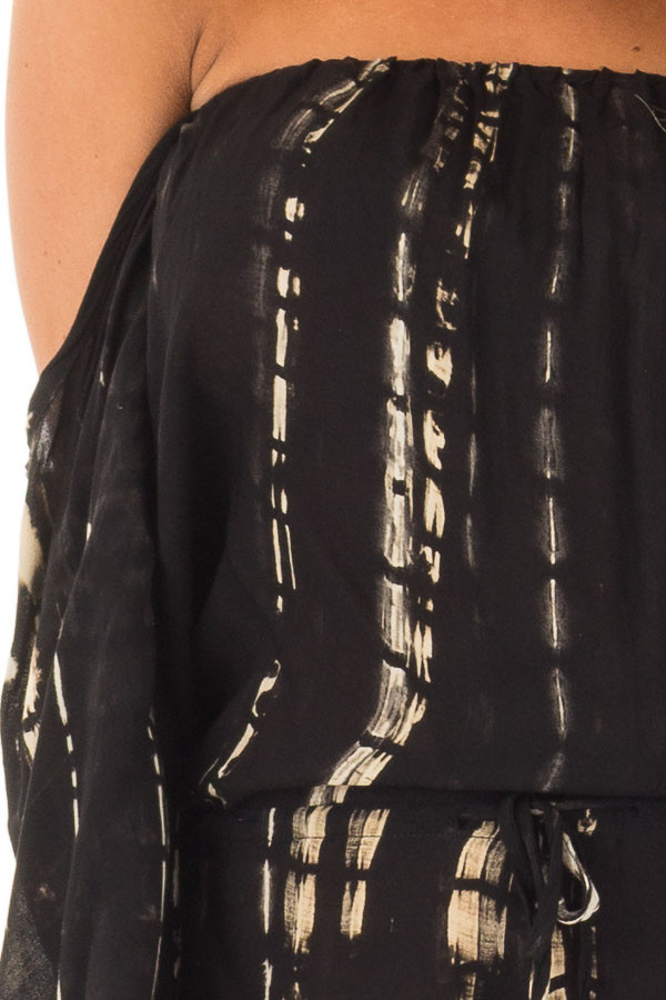 Black and Cream Tie Dy Off the Shoulder Romper front detail