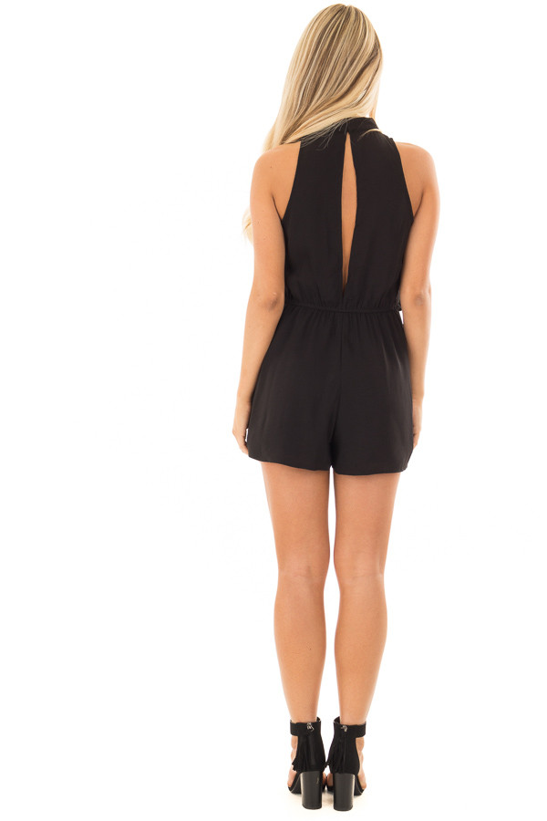 Black Tank Top Romper with Keyhole Back back full body