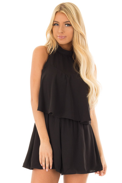 Black Tank Top Romper with Keyhole Back front closeup