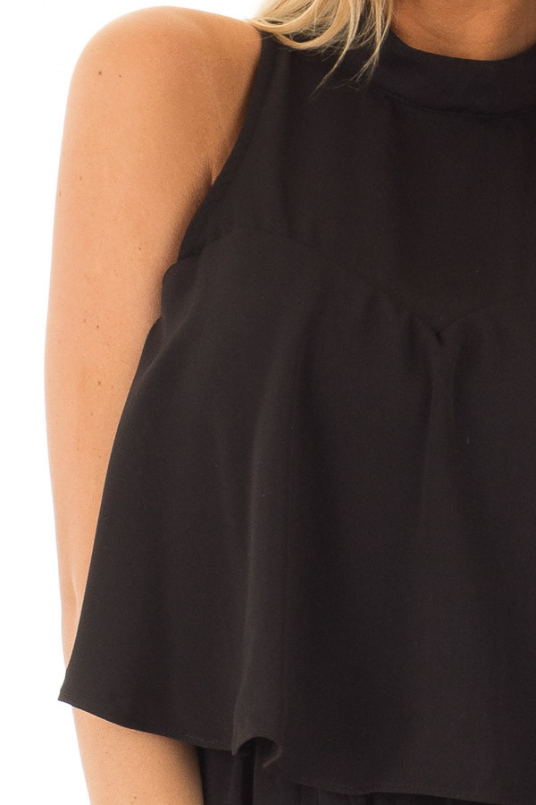 Black Tank Top Romper with Keyhole Back front detail