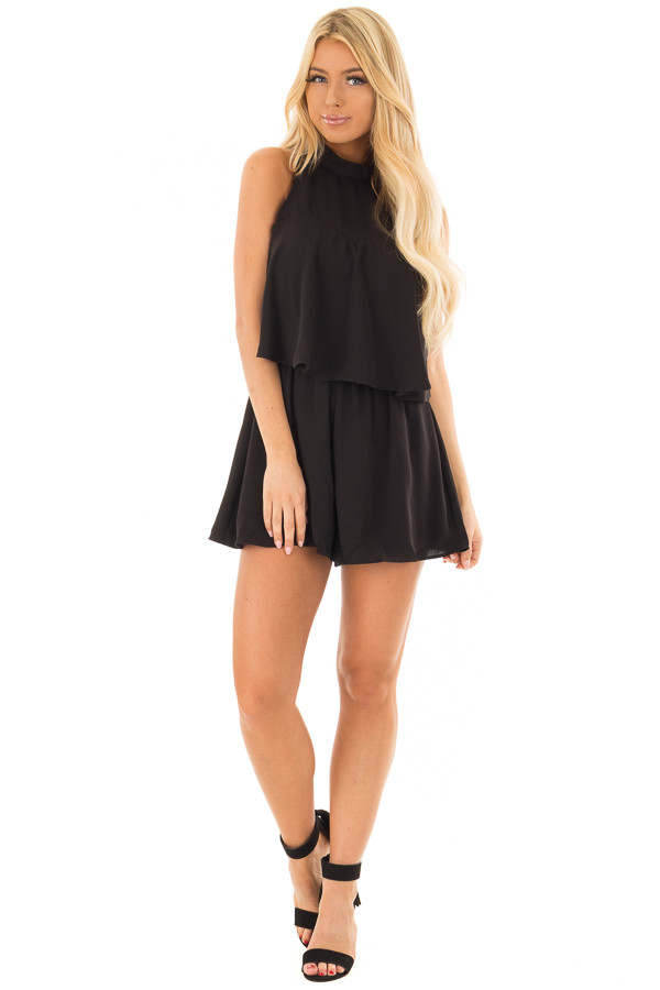 Black Tank Top Romper with Keyhole Back front full body