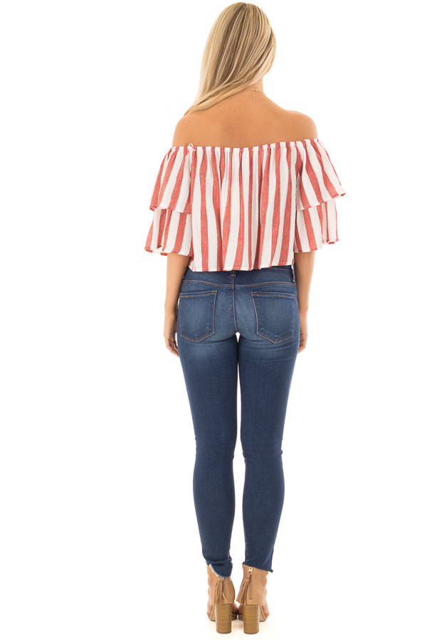 Rusty Red and Ivory Striped Off the Shoulder Crop Top back full body