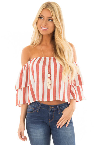 Rusty Red and Ivory Striped Off the Shoulder Crop Top front closeup