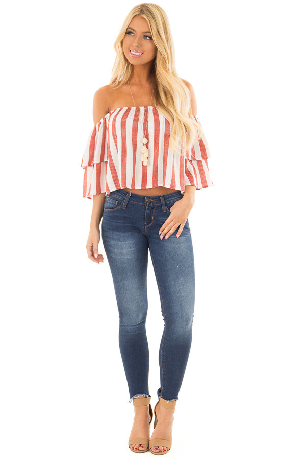 Rusty Red and Ivory Striped Off the Shoulder Crop Top front full body