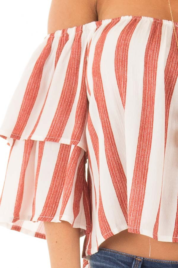 Rusty Red and Ivory Striped Off the Shoulder Crop Top front detail