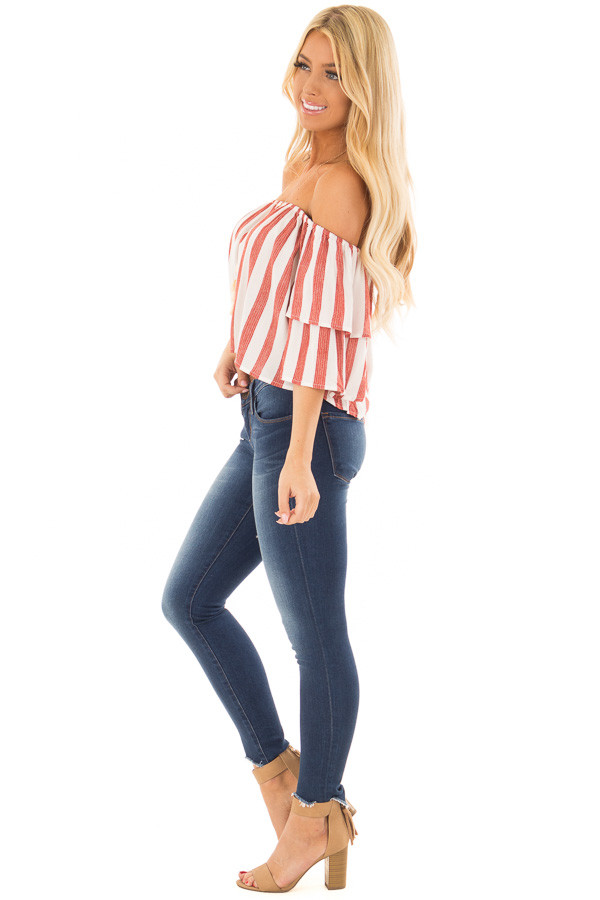 Rusty Red and Ivory Striped Off the Shoulder Crop Top side full body