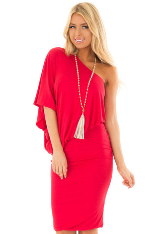 Lipstick Red One Shoulder Asymmetric Dress front closeup