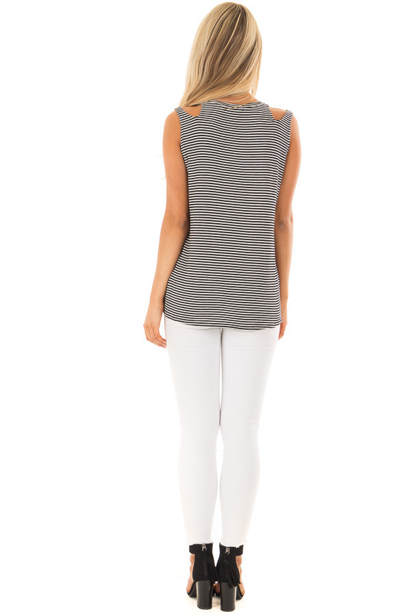 Black and White Striped Tank Top with Shoulder Cut Outs back full body