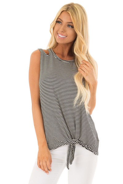 Black and White Striped Tank Top with Shoulder Cut Outs front closeup