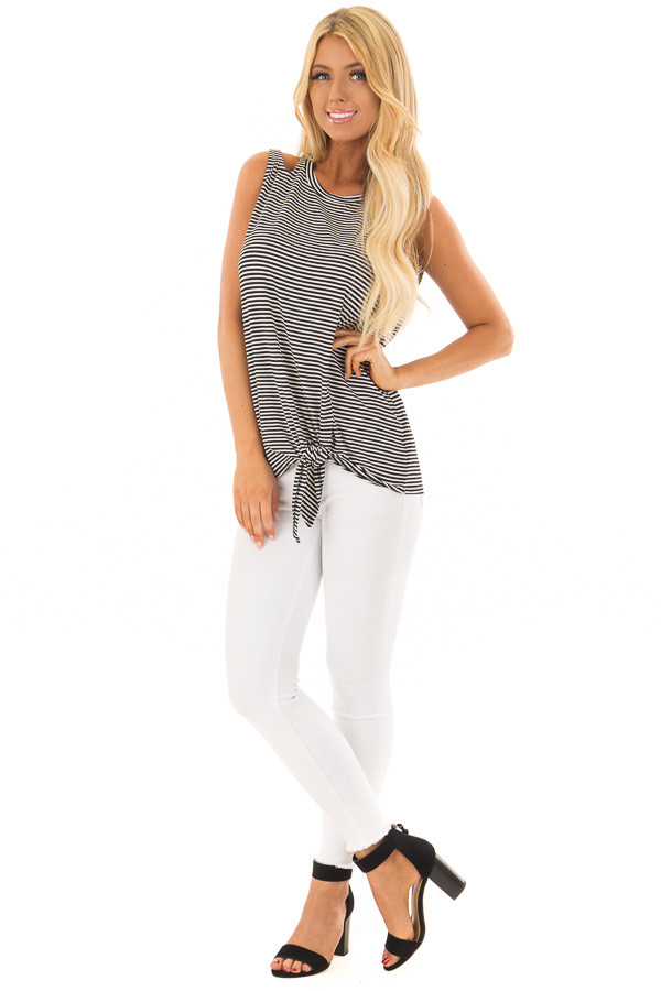 Black and White Striped Tank Top with Shoulder Cut Outs front full body