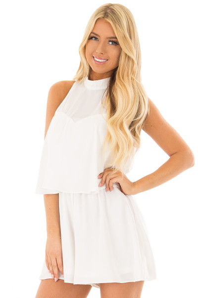 Off White Tank Top Romper with Keyhole Back front closeup
